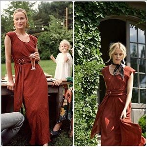 Anthropologie Burnt Orange Belted Midi Dress